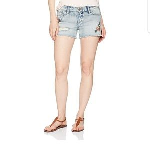 Silver Jeans Aiko Flower Embroidered Shorts